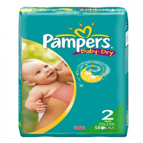 Couches Pampers Baby Dry taille 2 - 58 couches de Starckman