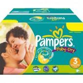 Pack économique 272 Couches de la marque Pampers Baby Dry de taille 3 (Midi)