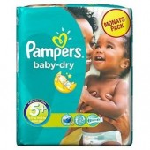 Couches Pampers Baby Dry taille 5+ - 43 couches