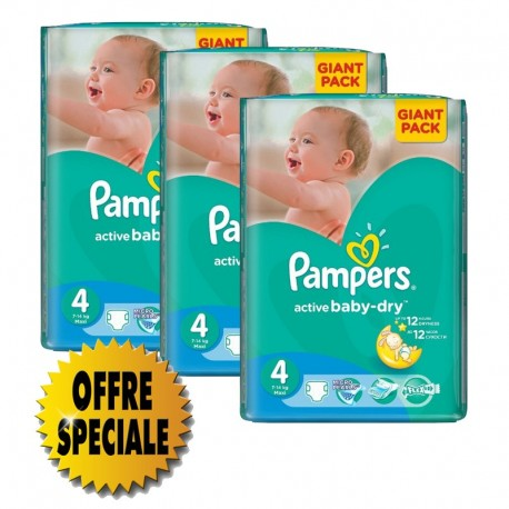Couches Pampers Active Baby Dry taille 4 - 522 couches de Starckman
