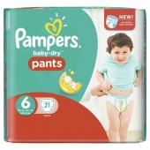 Pack 21 Couches Pampers Baby Dry Pants sur layota
